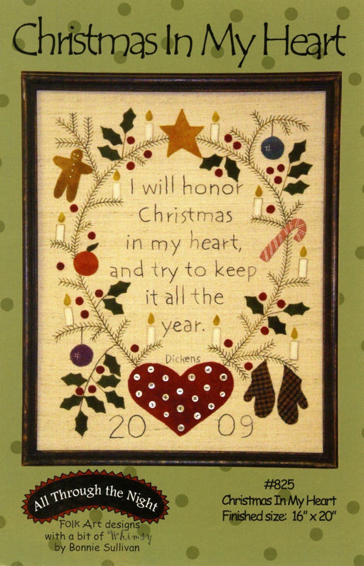 Christmas In My Heart - embroidery and wool applique KIT - Bonnie Sullivan-Flannel or Wool-All Through the Night -Primitive, applique - RebsFabStash