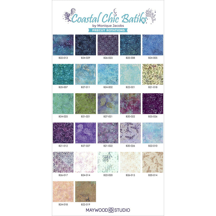 Coastal Chic Batiks - by Monique Jacobs for Maywood - per yard - Coral on medium aqua - great tonal or blender - MASB22 - 021 - RebsFabStash