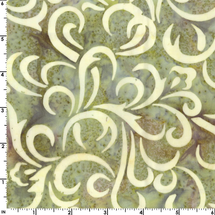 Coastal Chic Batiks - by Monique Jacobs for Maywood - per yard - Green and cream swirls or scroll - great tonal or blender - MASB21 - 018 - RebsFabStash