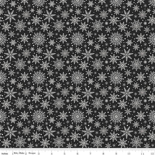 Comfort and Joy - by the yard - Christmas - Quilt fabric - Riley Blake - by Dani Mogstad for My Mind's Eye - Snowflakes on black - C - RebsFabStash