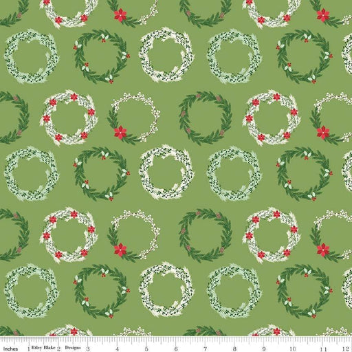 Comfort and Joy - by the yard - Christmas - Quilt fabric - Riley Blake - by Dani Mogstad for My Mind's Eye - Wreaths on Green - C - RebsFabStash