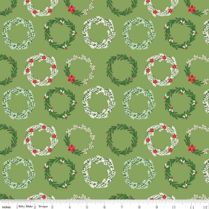 Comfort and Joy -by the yard- Christmas -Quilt fabric- Riley Blake-Dani Mogstad for My Mind's Eye-Reindeer snowglobes on dark green - C - RebsFabStash