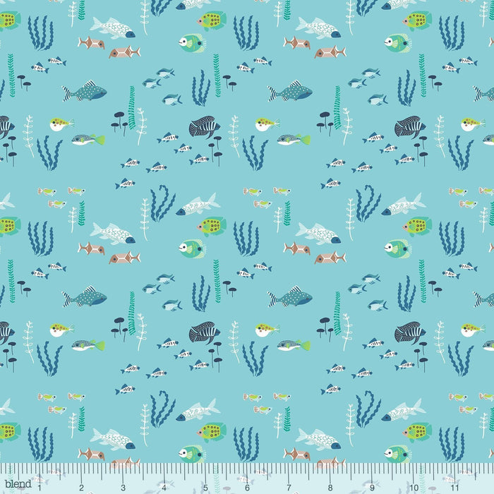 Congo Hippos - per yard - Katy Tanis - Blend Fabrics - Lily Pads - Blue - Digitally Printed - RebsFabStash