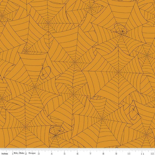 Costume Maker's Ball - per yard - Janet Wecker Frisch- Riley Blake Designs - Halloween fabric! Black spider web on Orange C8366 - RebsFabStash