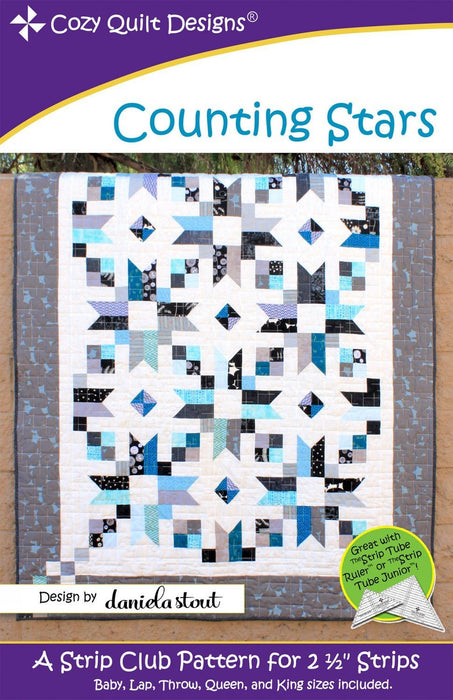 "Counting Stars- Quilt Pattern- Designed by Daniela Stout by Cozy Quilt Designs - Baby to King included - Use 2 1/2"" strips - RebsFabStash"