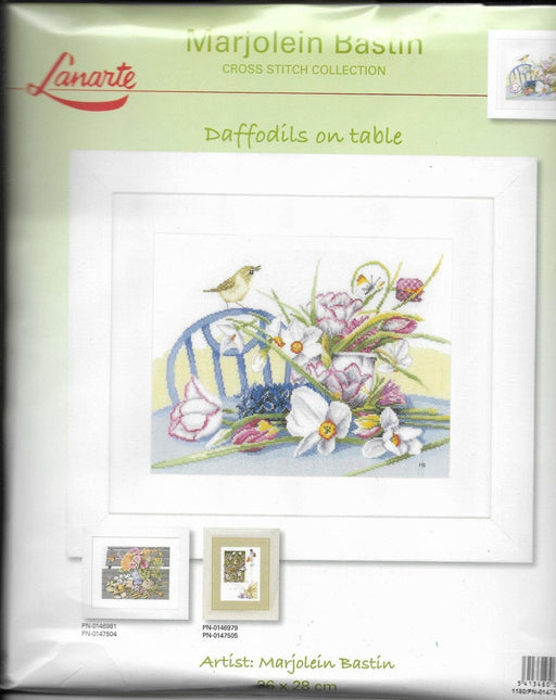 Daffodils on table - Marjolein Bastin - Lanarte Home and Garden Collection - DMC Aida White (14 ct) Complete Counted Cross Stitch Kit - RebsFabStash