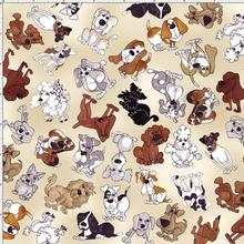 Dear Doggie Delight - Tossed Doggies on Ecru - per yard - Loralie Harris Designs - Cute Dogs - RebsFabStash