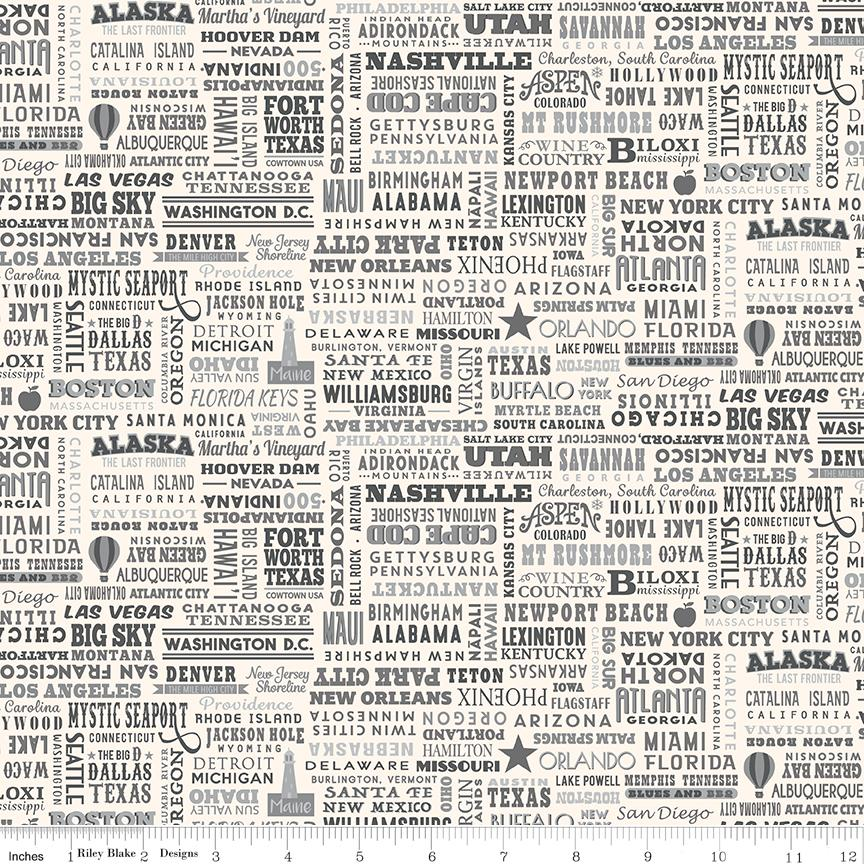 Destinations - per yard - by Anderson Design Group for Riley Blake - United States Destinations Grey - C10029-GRAY - RebsFabStash