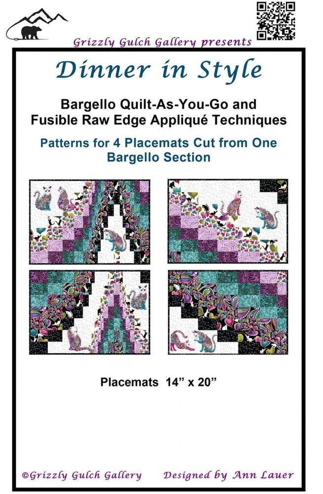 Dinner in Style Quilt Pattern by Ann Lauer - Bargello Quilt as you Go - patterns for Placemats! - Grizzly Gulch Gallery - RebsFabStash