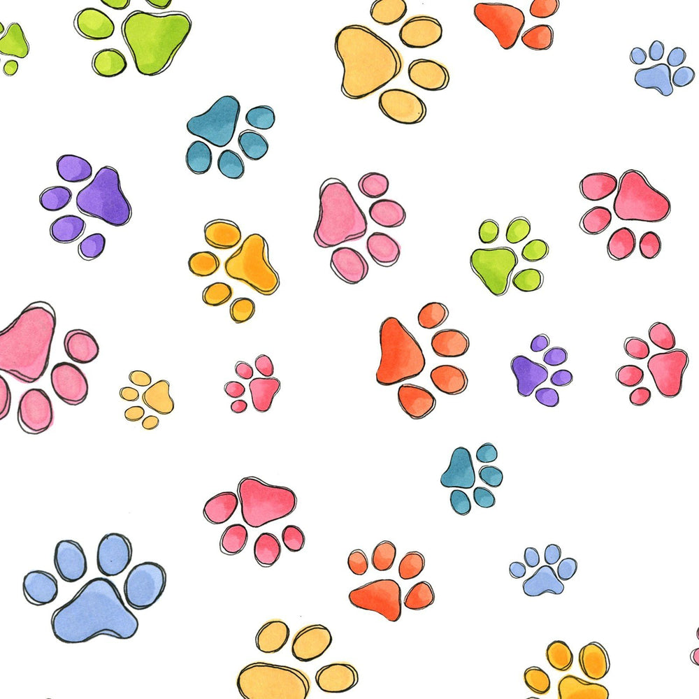 Dog Gone - Per Yard - Loralie Harris - Multi colored Dog or puppy prints on white - RebsFabStash