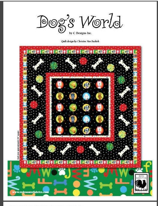 Dog's World - per yard - Red Rooster - By C Designs - RebsFabStash