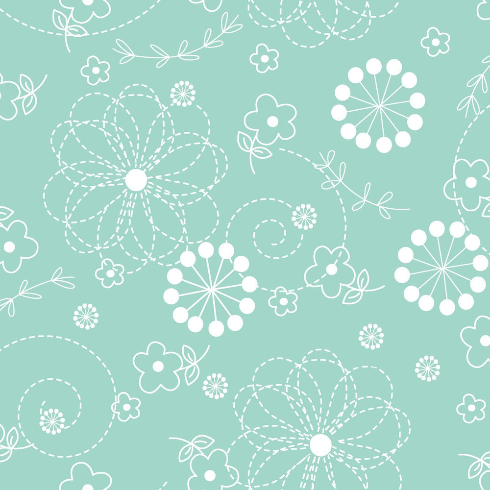Doodles - per yard - Kimberbell Basics - Maywood Studio - White Doodles on Light Teal - MAS 8246-Q - C - RebsFabStash