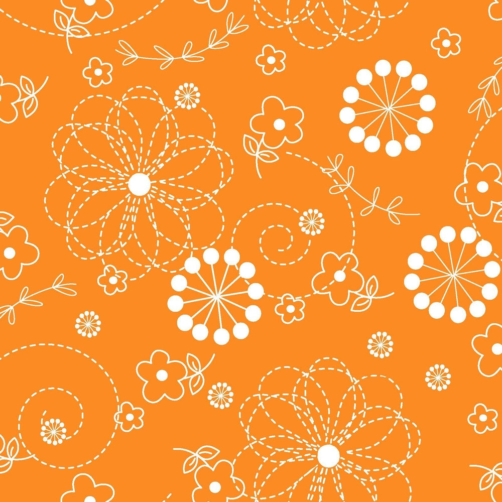 Doodles - Per Yard- Kimberbell Basics - Maywood Studio - White Doodles on Orange - MAS 8246-O - RebsFabStash