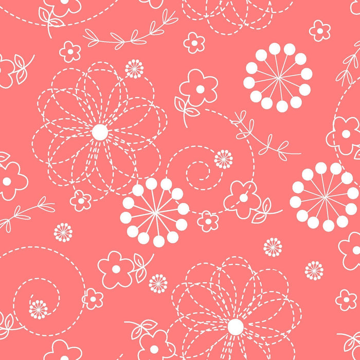 Doodles - Per Yard- Kimberbell Basics - Maywood Studio - White Doodles on Peachy Pink (It's definitely a peachy color) - MAS 8246-CP - C - RebsFabStash