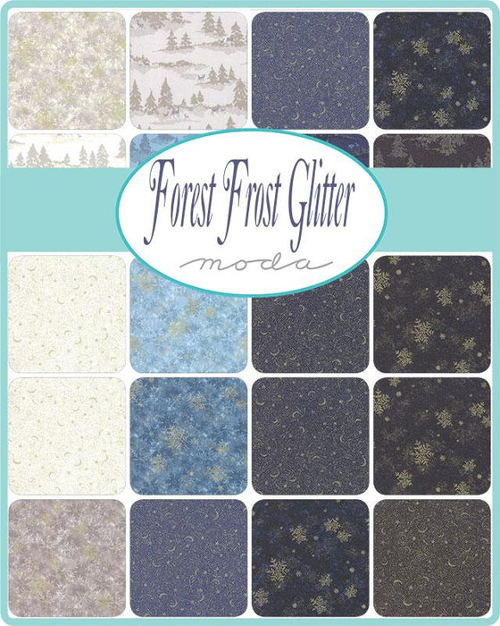 "Early Release! Forest Frost Glitter - Fat Quarter Bundle - (25) 18"" x 21"" pieces - MODA - metallic gold & silver - cream, blue, navy, & black - RebsFabStash"
