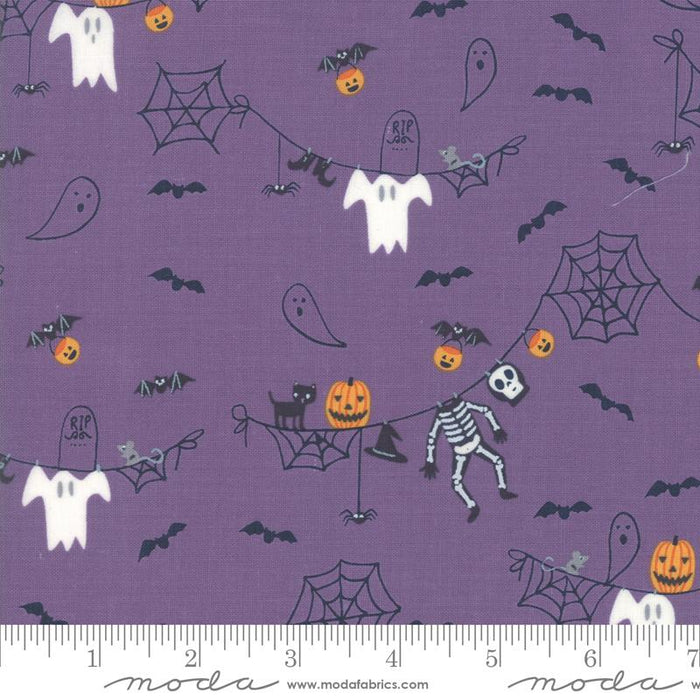 "Early Release! New! Ghouls and Goodies - Fat Eighth Bundle - (30) 9"" x 21"" pieces - Stacy Iest Hsu - Moda - purples, oranges, blacks and greys - RebsFabStash"