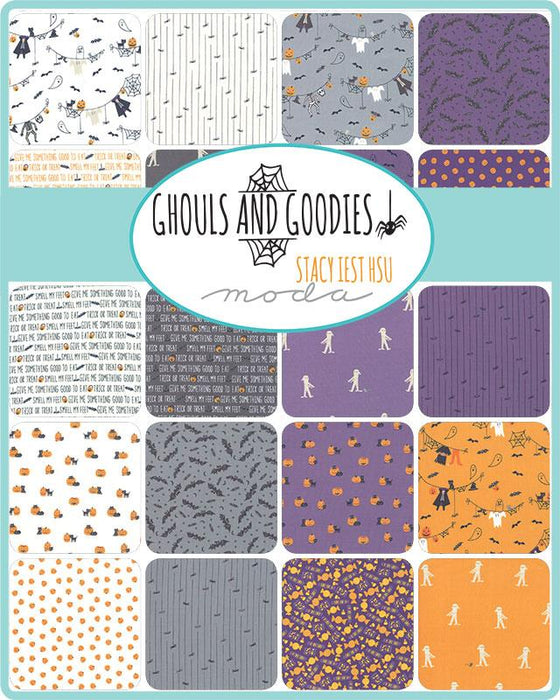 "Early Release! New! Ghouls and Goodies - Layer Cake - Stacker - (42) 10"" squares - Stacy Iest Hsu - Moda - purples, oranges, blacks and greys - RebsFabStash"