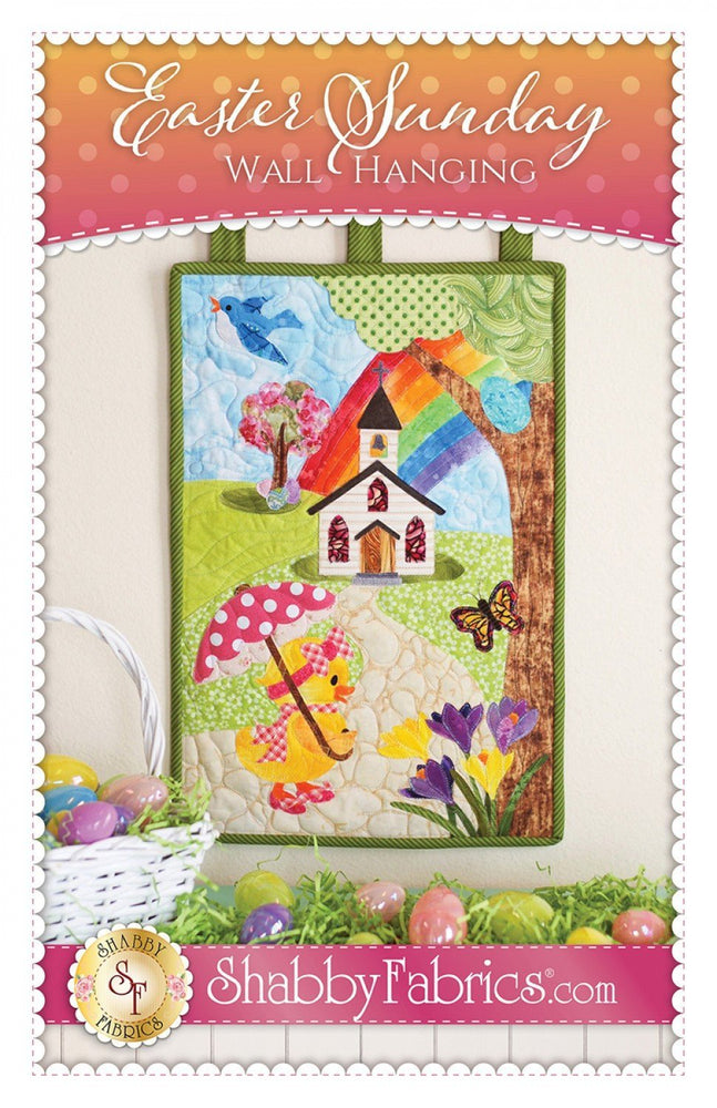 "Easter Sunday Patch Wall Hanging or Door Hanging - Quilt Pattern - by Shabby Fabrics - 12"" x 18"" - Easter or Spring decor! - RebsFabStash"