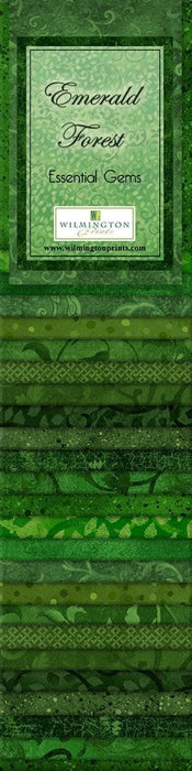 "Emerald Forest - (24) 2.5"" Strips - Wilmington Prints - Essential Gems - Green Tonals and blenders - RebsFabStash"