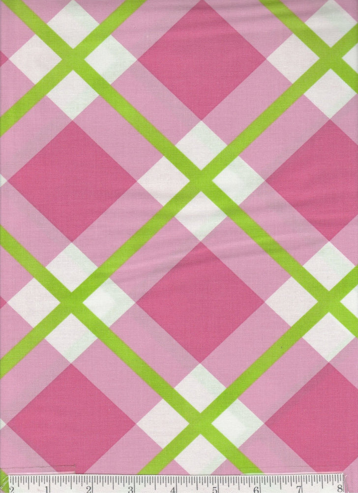 Enchanted collection by Jane Sassaman - Free Spirit - Pattern Perpetual plaid, color pink and green and white - diagonal plaid bias plaid - RebsFabStash