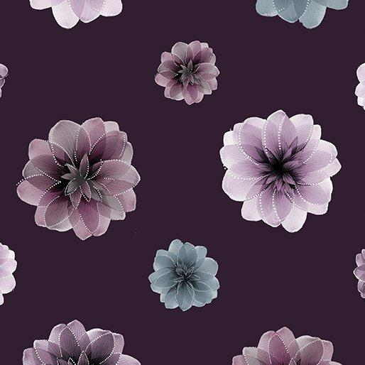 Essence of Pearl - Per Yard - Benartex - Maria Kalinowski by Kanvas Studio - dragonflies, flowers - Flowers on Deep Purple - 8729 P 66 - RebsFabStash