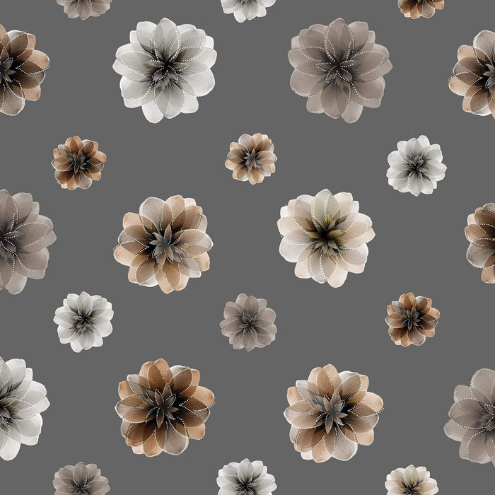 Essence of Pearl - Per Yard - Benartex - Maria Kalinowski by Kanvas Studio - flowers - Floating Blossoms on Stone Grey - 8729 P 11 - RebsFabStash