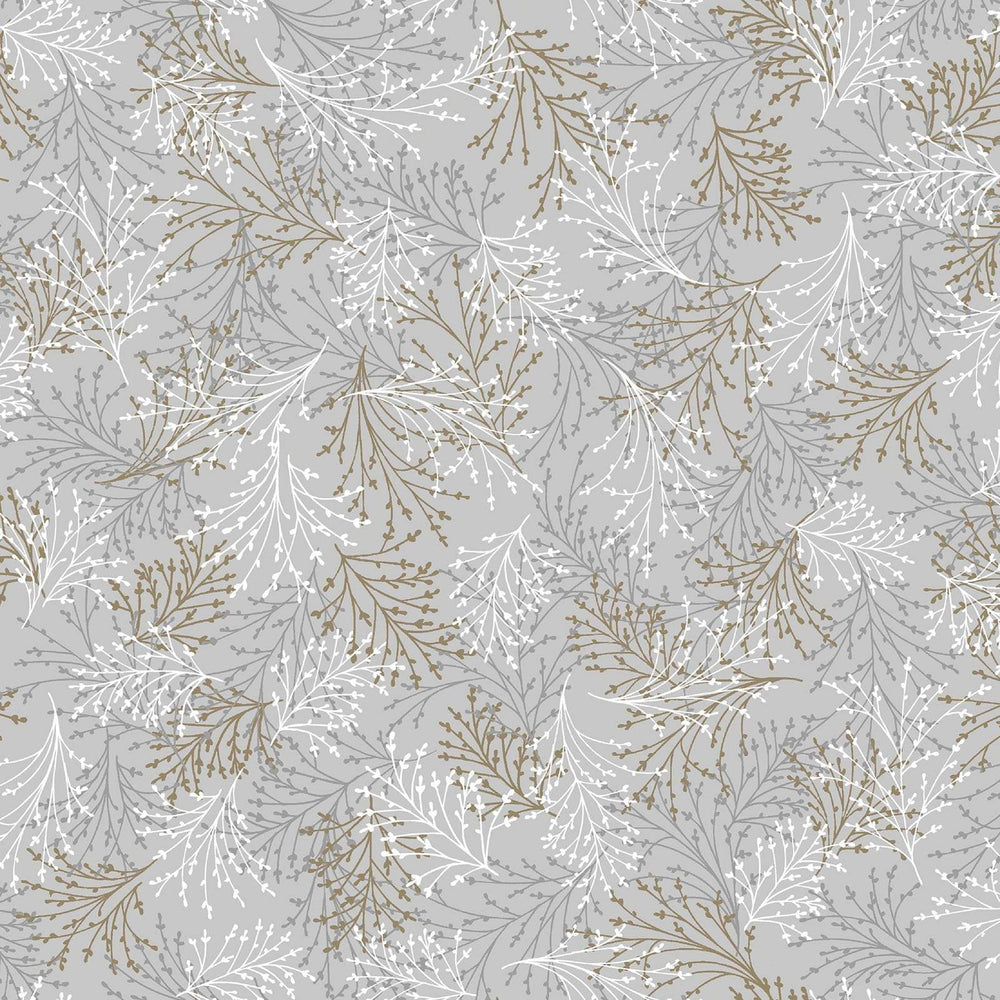 Essence of Pearl - Per Yard - Maria Kalinowski - Kanvas Studio -dragonflies, flowers -Blender tossed sprigs grey/brown -8733 P 11 - RebsFabStash