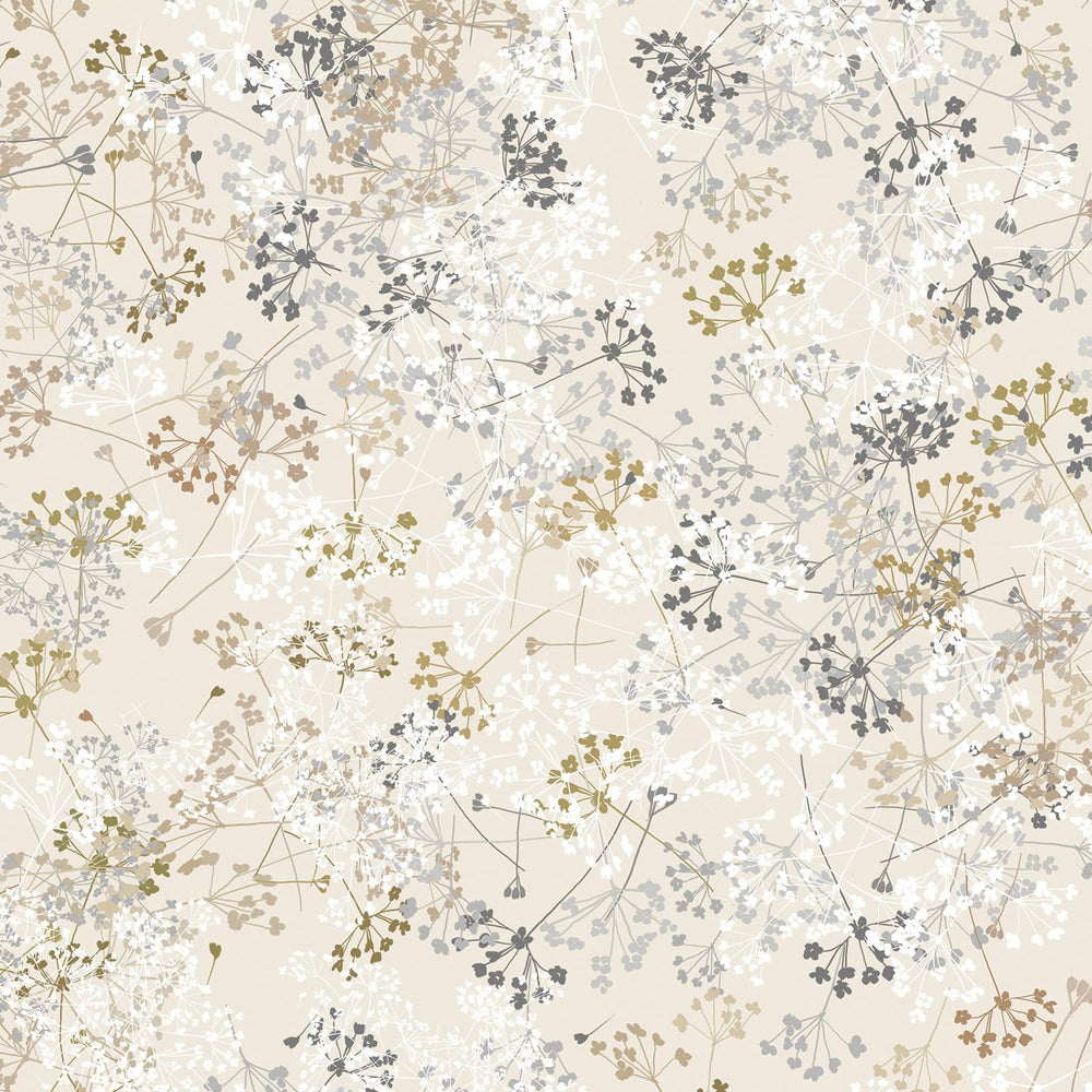 Essence of Pearl - Per Yard - Maria Kalinowski - Kanvas Studio -dragonflies, flowers -Queen Anne's Lace on beige-8730 P 07 - RebsFabStash