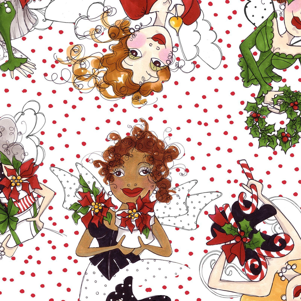 Fairy Merry - per yard - Loralie Harris Designs - Christmas - Tossed Fairies - on white with Red dots - C11 - RebsFabStash