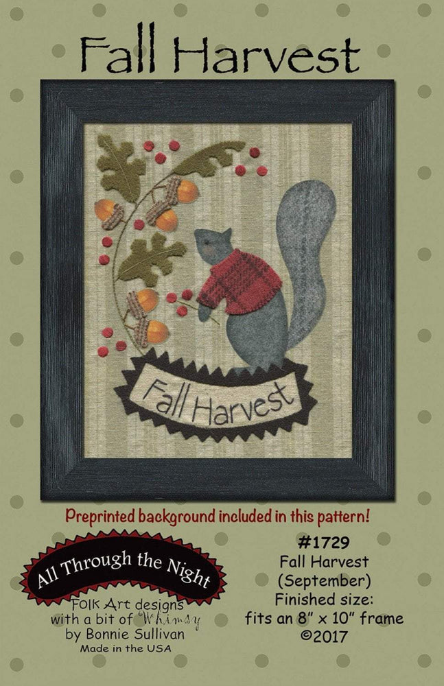 Fall Harvest -September- Preprinted embroidery applique pattern - Bonnie Sullivan-Flannel or Wool-All Through the Night -Primitive, applique - RebsFabStash