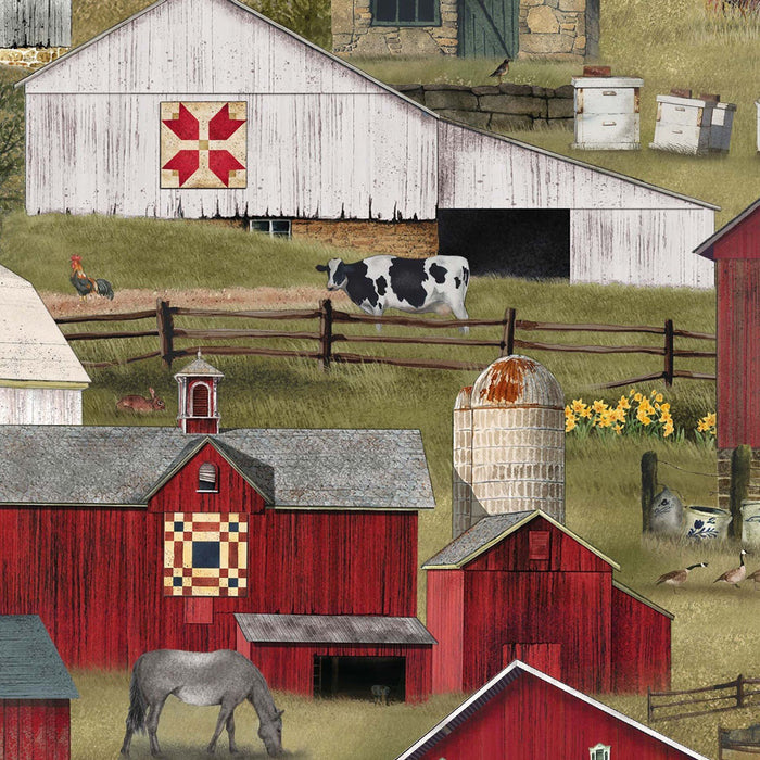 Farm Animals - Headin Home collection - per yard - Elizabeth's Studio - Barns - Designed by Billy Jacobs - RebsFabStash