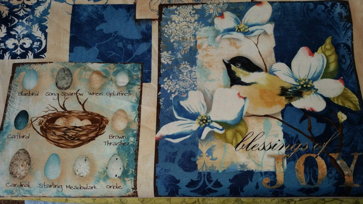 "Feather Your Nest - Panel - 23"" x 44""- Nancy Mink for Wilmington Prints - RebsFabStash"