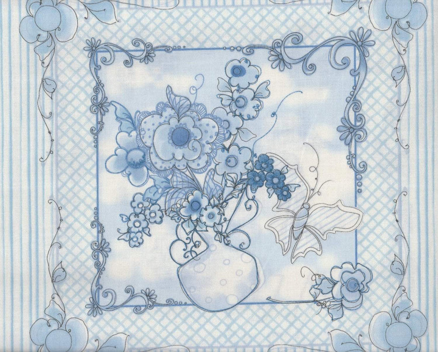 "Flora Bleu by Loralie Harris - Panel 2 - 24"" x 44/45"" - Great for mug rugs! Discontinued item. - RebsFabStash"