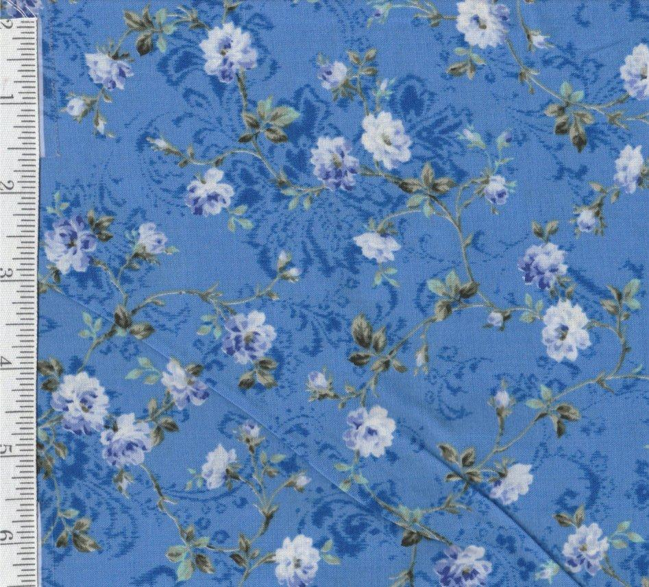Floral in Cornflower - Per yd - Quilt gate - Nice Fabric - RebsFabStash