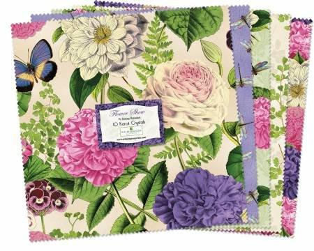 "Flower Show - 5 Karat Crystals (Charm Pack) by Anne Rowan - (42) 5"" Squares - Beautiful floral and butterflies on creams and pastels - RebsFabStash"
