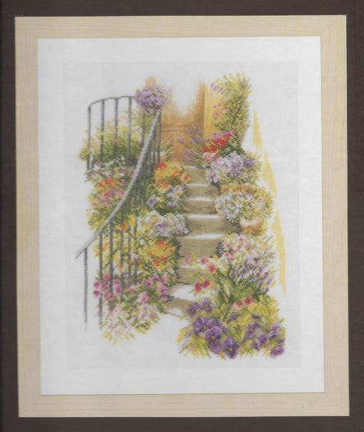 "Flower Stairs - Home and Garden Collection by LanArte - Counted Cross Stitch Kit- DMC Linen 30ct , 11"" x 14.5"" - RebsFabStash"