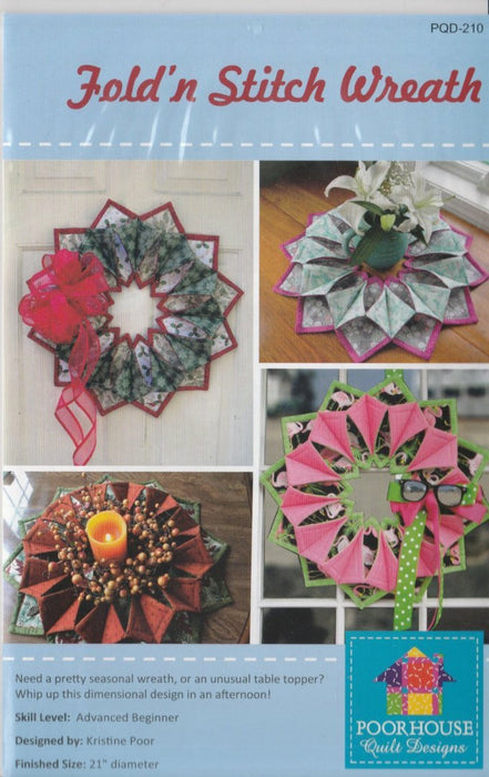 Fold n Stitch - Table Toppers or door hanging, wreath Pattern - by Kristine Poor - RebsFabStash