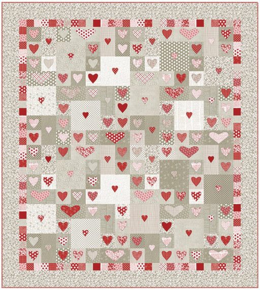 "Follow Your Heart - Quilt Pattern designed by Sweetwater - Uses projectred fabrics - finished size 69"" x 77"" - Item #P255 - RebsFabStash"