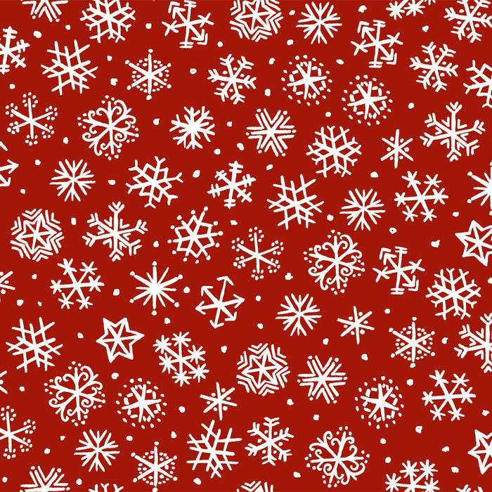 Four Seasons - Per Yard - In the beginning Fabrics by Jason Yenter - Snowflakes on red - RebsFabStash