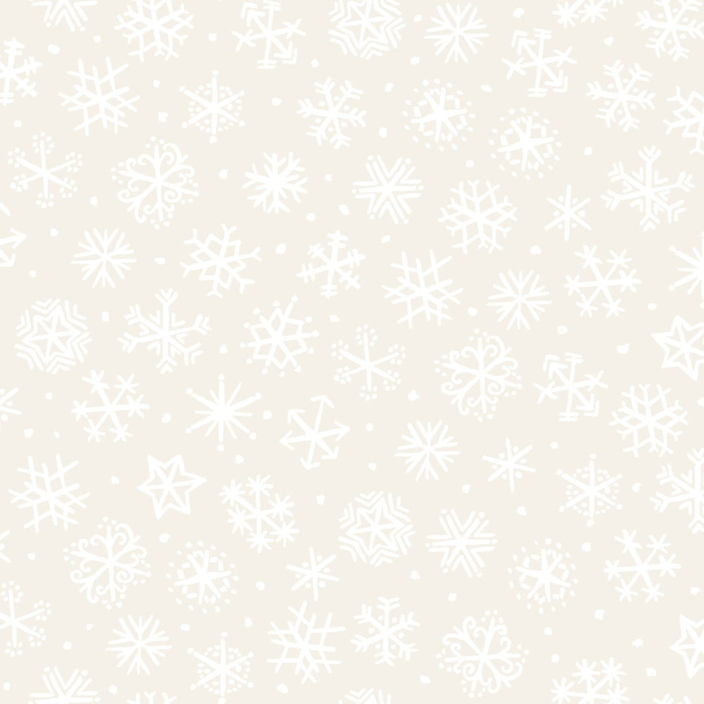 Four Seasons - Per Yard - In the beginning Fabrics by Jason Yenter - White snowflakes on cream - RebsFabStash