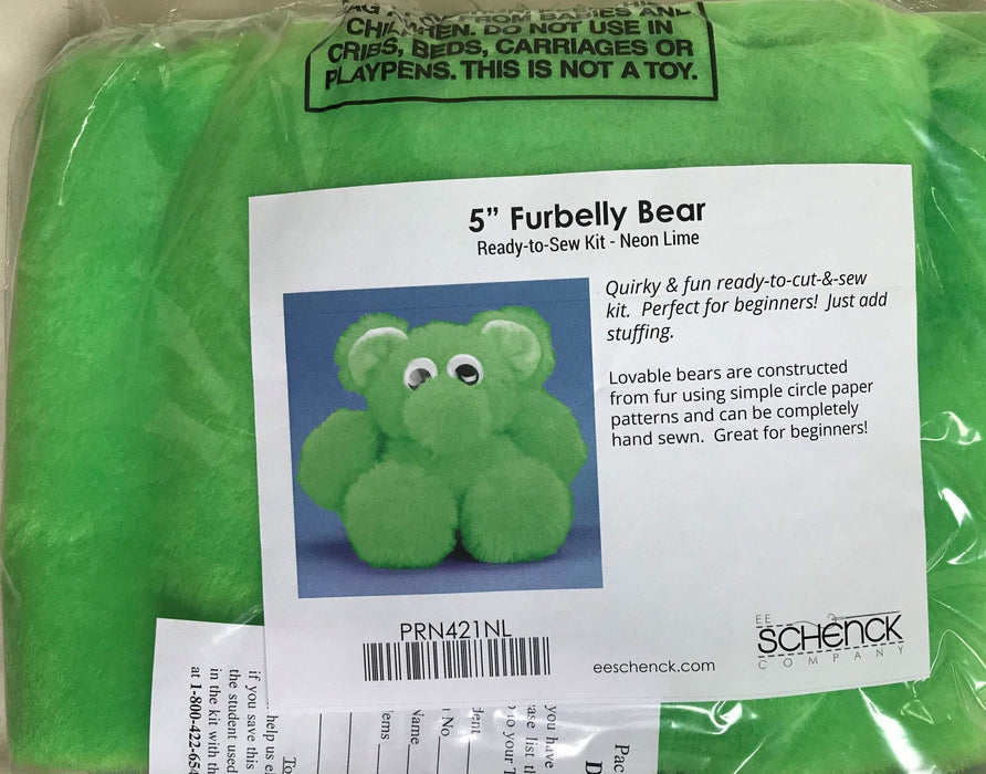 "Furbelly Bear - Pink or Green - 5"" Tall - Haan Craft Complete Kit - Pattern Printed on Fabric! comes with THREAD! - Plush kit - ready to sew - RebsFabStash"