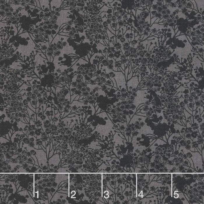 Garden Delights III - per yard - Catherine Glazkova - Gray sky studio - In The Beginning - Tonal Floral - Black - RebsFabStash