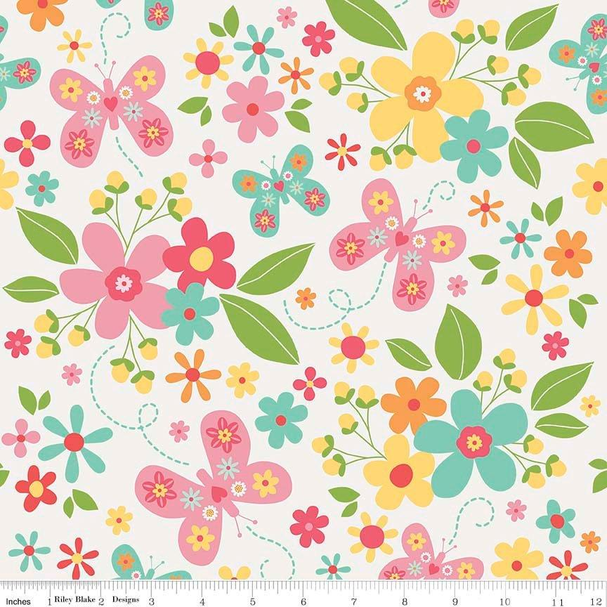 Garden Girl - FLANNEL - per yard - Riley Blake - by Zoe Pearn - Main print on white flannel - butterflies and flowers - C - RebsFabStash