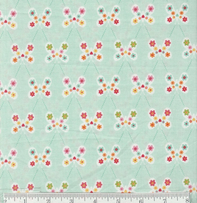 Garden Girl - per yard - Riley Blake - by Zoe Pearn - Butterflies on Mint - RebsFabStash