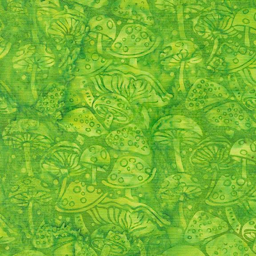 Garden Party - by Kathy Engle for Colourwerx - Island Batiks - per yard - Beautiful Collection! - Mushrooms on Lime - 111929615 - RebsFabStash