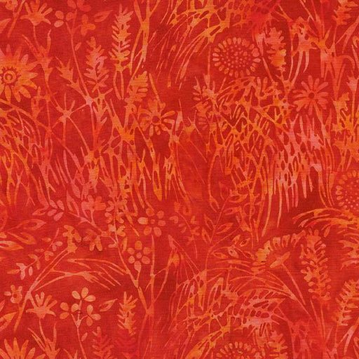 Garden Party - by Kathy Engle for Colourwerx - Island Batiks - per yard - Beautiful Collection! - Wildflowers Dark Flame - 111931261 - RebsFabStash