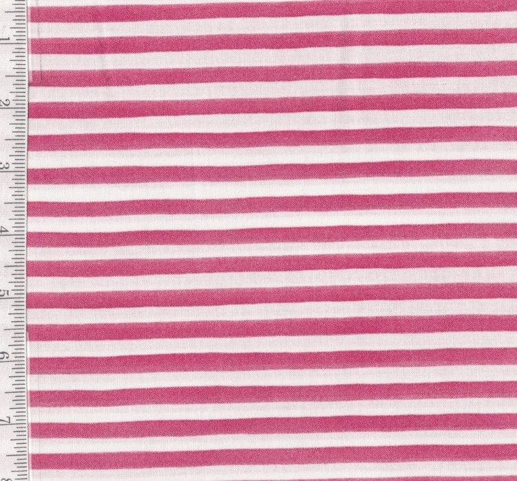 Gulf Sripe - Per Yard - Loralie Harris Designs - Pink and White stripe - RebsFabStash