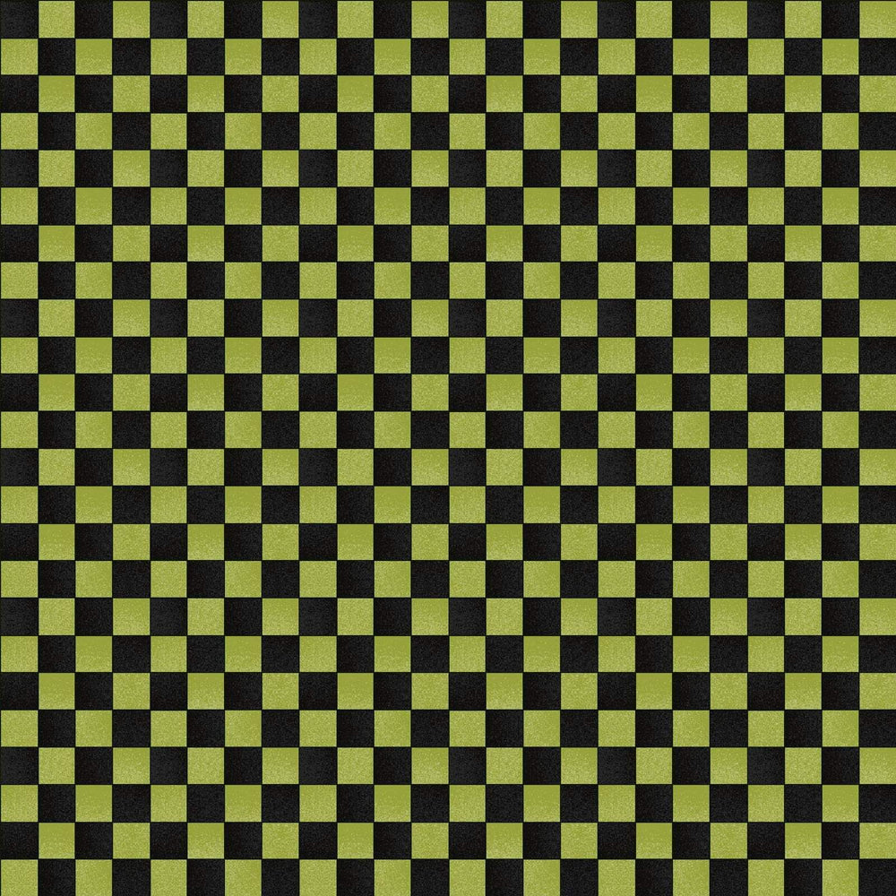 Halloweenie - per yard - Maywood Studio - by Robin Kingsley - Black and green Squares, checker - RebsFabStash