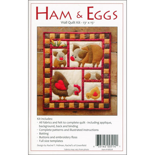 Ham & Eggs Kit - Includes fabrics, pattern, embroidery floss! - Rachel Pellman - Rachel's of Greenfield - Wall hanging quilt kit - RebsFabStash
