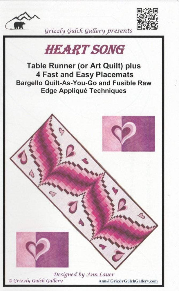 Heart Song - Wall Quilt or Table runner Pattern - by Ann Lauer - RebsFabStash
